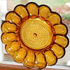 Deviled Eggs Serving Platter_Indiana Glass Hobnail Honey Amber