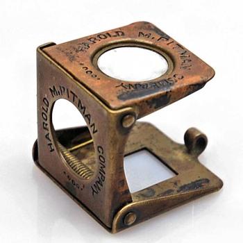 Antique Brass German Folding Pocket Loupe Magnifier  - Office