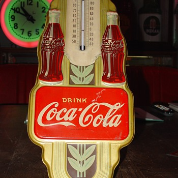 1942 Original Coca-Cola Double Bottle Gold Thermometer - Coca-Cola