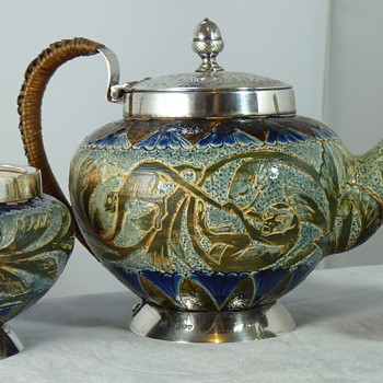 Doulton Lambeth Aesthetic Movement Teaset by Mark V. Marshall, silver mounts by Hukin & Heath - Art Pottery