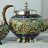 Doulton Lambeth Aesthetic Movement Teaset by Mark V. Marshall, silver mounts by Hukin & Heath
