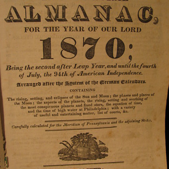 1870 Agricultural Almanac - Books