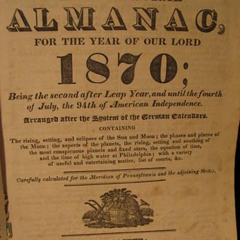 1870 Agricultural Almanac - Books