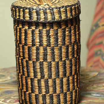 Antique Hupa Lidded Tobacco Basket - Native American