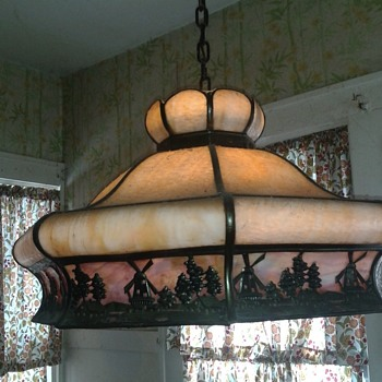 1920 Dutch panel hanging lamp
