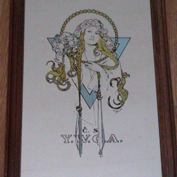 Vintage mirror Art Nouveau - Advertising