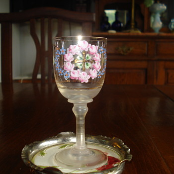 Antique Bohemian Enameled Art Glass small Goblet