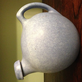 Niloak refrigerator ball water jug with stopper matte speckled blue. Need Time Reference, please. :) - Art Pottery