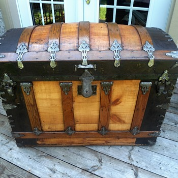 1880's refinished cross-slat antique trunk