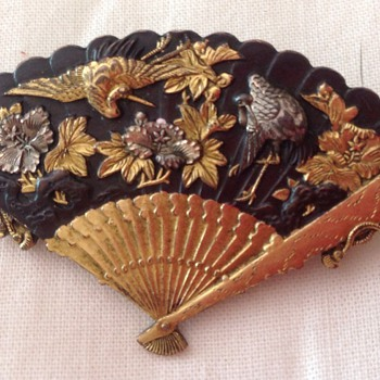 Shakudo brooch, pendant.