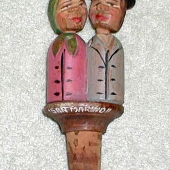 Carved Wood Figural Bottle Cork - San Marinon - Folk Art