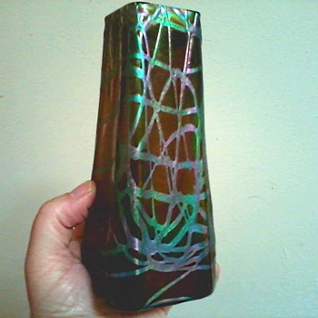 "Iridescent Kralik Banded Tapered 6 "" Vase/ Lit.: Passauer Glasmuseum, IV.265 /Wilhelm Kralik Sohn, Eleonorenhain/ Circa 1900 - Art Glass"