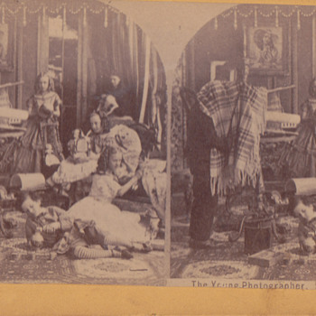 Early Stereoscopic of girls with dolls 1800's