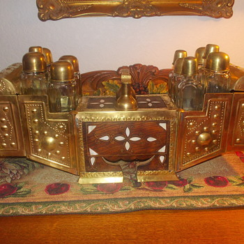 Unique Brass and Wood Carrier With Glass Bottles