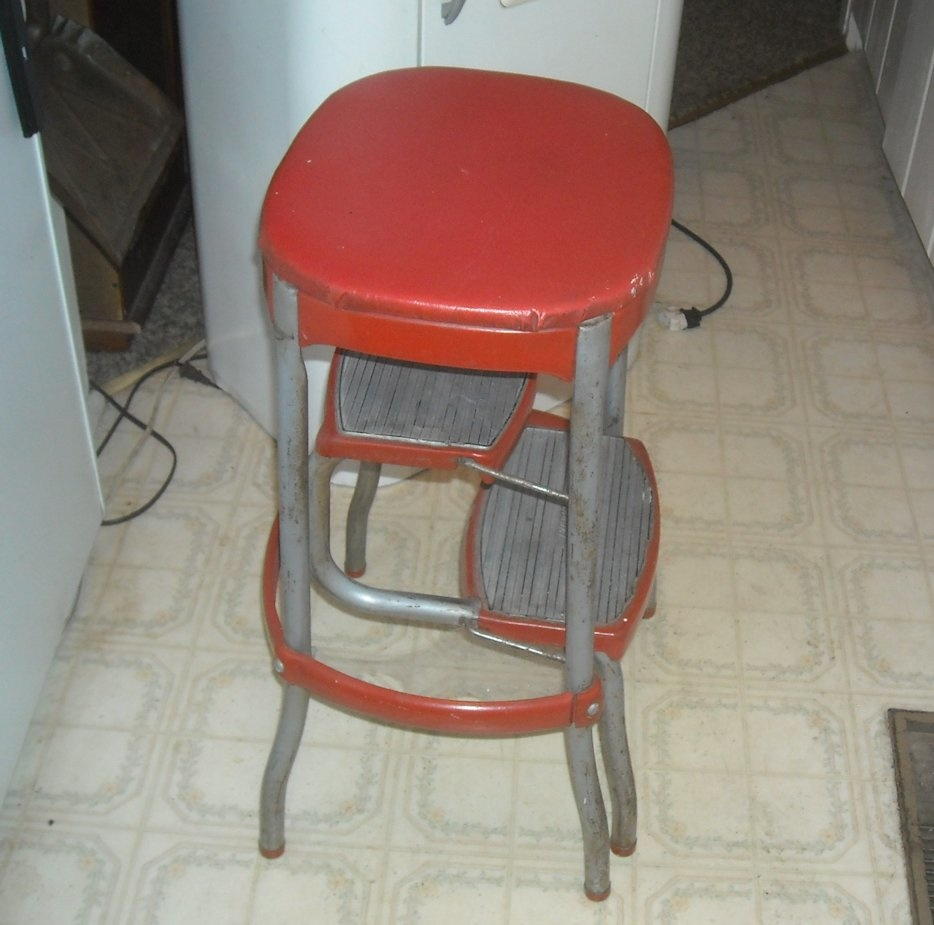 Cosco step stool chair - Vintage Cosco Kitchen Folding Step Stool With Bo Back Collectors
