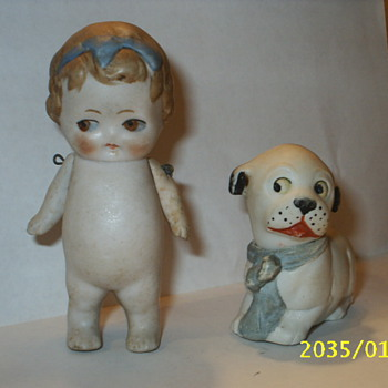 3 1/2 inch bisque doll with dog - Dolls