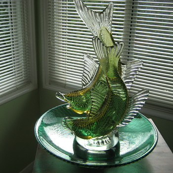 Barbini  double fish sculpture and bowl/charger - Art Glass
