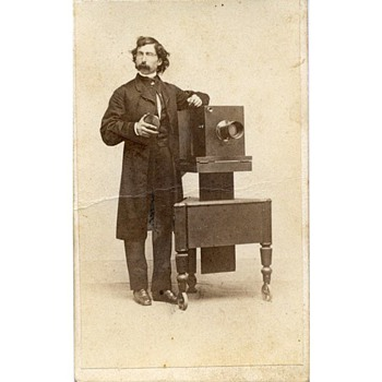 Photographers &amp; Their Cameras - c.1850s CDV Tradecard