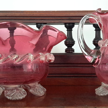 Antique cranberry crystal jug and bowl set