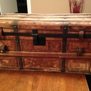 1864 paper lined trunk - Furniture
