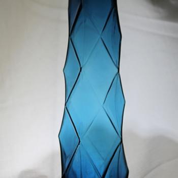 Pentagonal Blue Vase attr. Sasaki - Art Glass