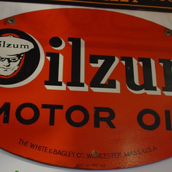 Oilzum Motor Oil Sign...The White & Bagley Co. Worcester, Mass. U.S.A.