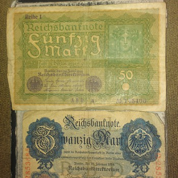 my old  post card from 1913, and 1874 to 1920 german money,  - Postcards