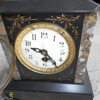 1890 - 1900 French Slate Mantle Clock - Clocks