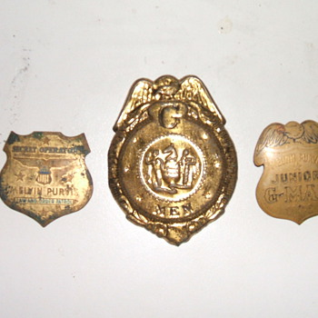 1930's Post Toasties G-Man Badges - Medals Pins and Badges