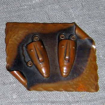Rebajes Brazilian mask copper set from 1950's - Costume Jewelry