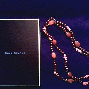 "Ross & Simons 23"" Single Strand Necklace/Brown Fresh Water Pearls, Pink Coral, and Peach Faceted Aventurine/ Circa 20th Century"