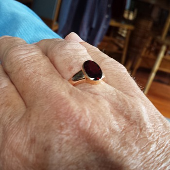 men's ring with red stone  - Fine Jewelry