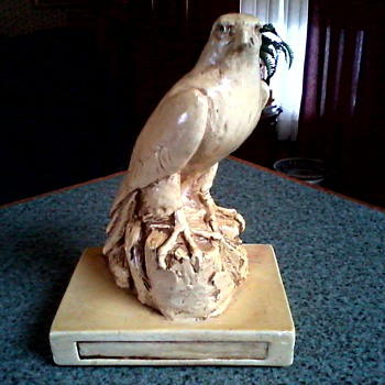 Majestic Falcon Sculpture /Plaster Cast/ Marked E & D SIM Circa 1982 - Figurines