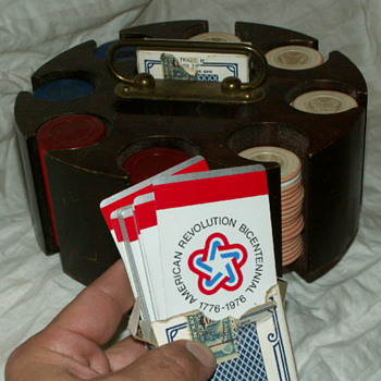 1976 Cards Deck & Antique 1920's Clay Boston Terrier Poker Chips - Games