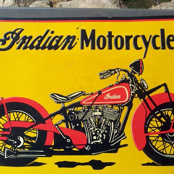 indian motorcycle embossed tin...