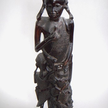 African Carving~Large Figure  of a Man or Woman w/ Many Children Climbing up - Folk Art