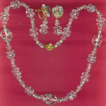 Vintage Miriam Haskell Clear Glass Crystal Necklace Set - Costume Jewelry