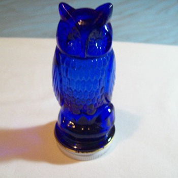 VINTAGE COBALT BLUE OWL BOTTLE / CONTAINER 