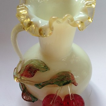 Victorian glass vase with applied cherries