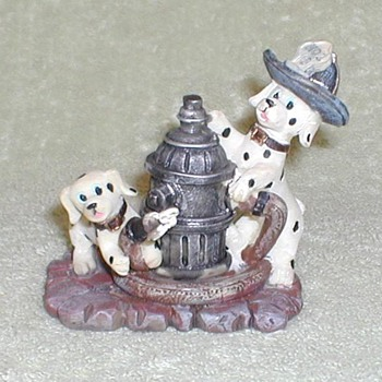 Dalmatian Puppies / Fire Hydrant Figurine