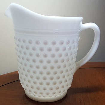 Milk Glass Hobnail Pitcher and Glass Set