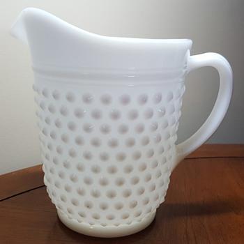 Milk Glass Hobnail Pitcher and Glass Set