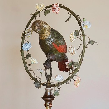 French Papier-Mâché Parrot on Brass Stand. 1890s.