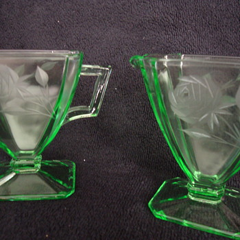 Depression Glass  --  Green Cream & Sugar - Glassware