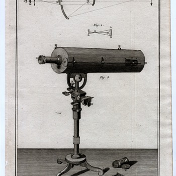 Telescope Circa 1770 copper plate print
