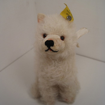 Beautiful White Steiff Wool Plush Chow Chow Dog  - Dolls