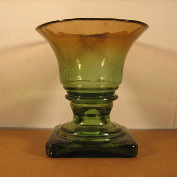 An Antique (?) Hand Blown Square Hollow-based Art Glass Compote Urn