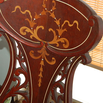 Antique Woman's Music Chair with Inlay - Furniture