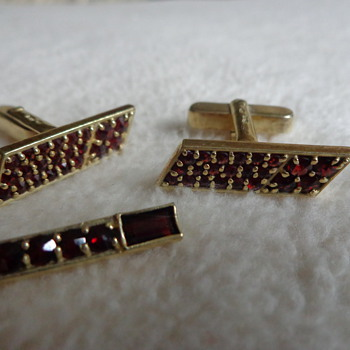 Vintage Sterling Cufflinks and Tie Clip with Garnets