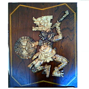 Huge Onyx Wall Plaque / Aztec or Mayan Warrior /Unknown Maker / Circa Mid Century